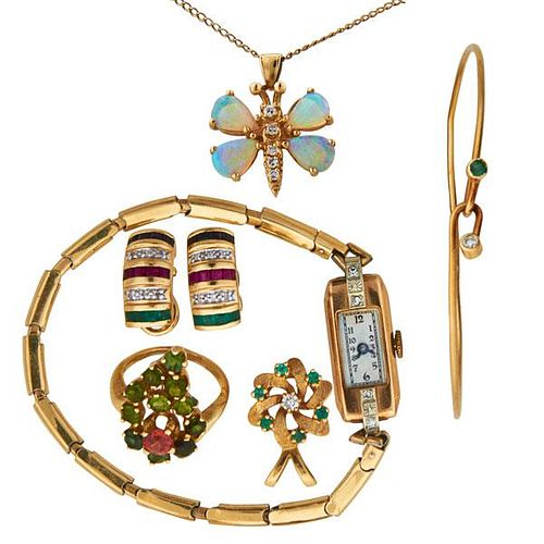 COLLECTION OF YELLOW GOLD AND GEM-SET JEWELRY