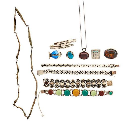 COLLECTION OF SILVER CRAFT JEWELRY