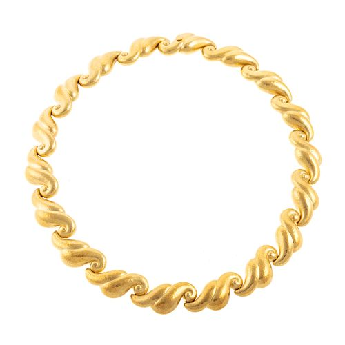 An 18K Solid Gold Wave Link Necklace by de Vroomen
