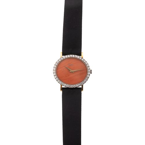 A Rare Vintage Coral & Diamond Piaget Watch