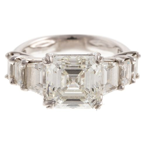 A 3.50 ct Asscher Cut Diamond Ring in Platinum
