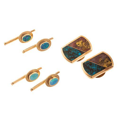 A Set of Turquoise Cufflinks & Opal Studs