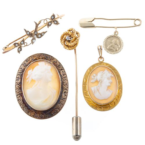 A Collection of Cameos & Vintage Pins in Gold