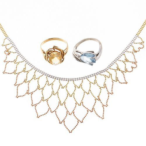 A Citrine Ring, Blue Topaz Ring & Swag Necklace