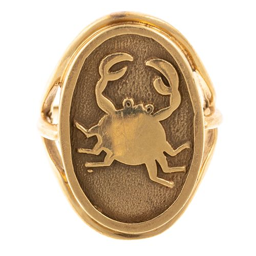 A 14K Yellow Gold Astrology Crab Ring