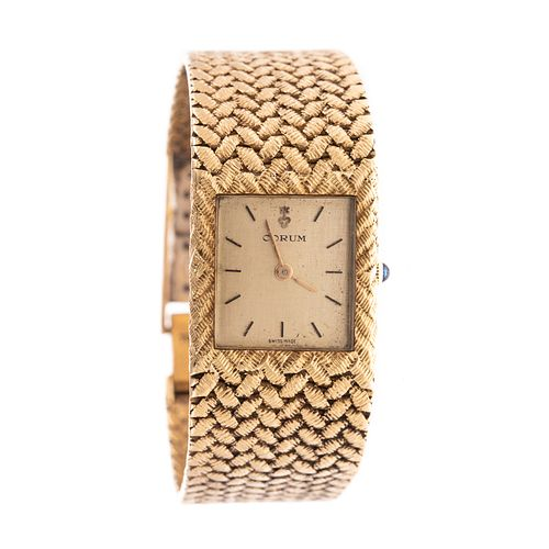 18K Corum Wrist Watch with Thick Woven Strap