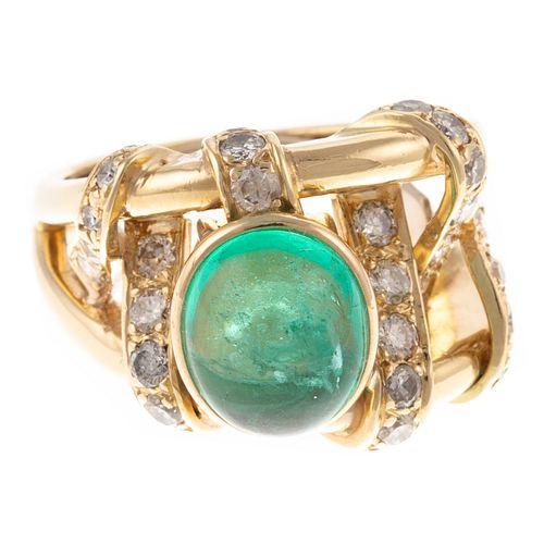A 18K Cabochon Emerald & Diamond Ring