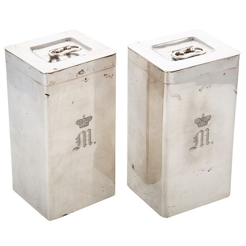 Pair Silver Tea Caddies: Maximilian de Beauharnais