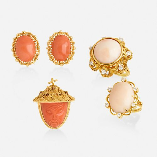 Group of coral and gold jewelry