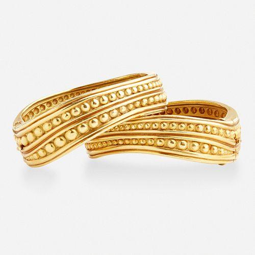 Barry Kieselstein-Cord, Pair of gold 'Caviar' cuffs