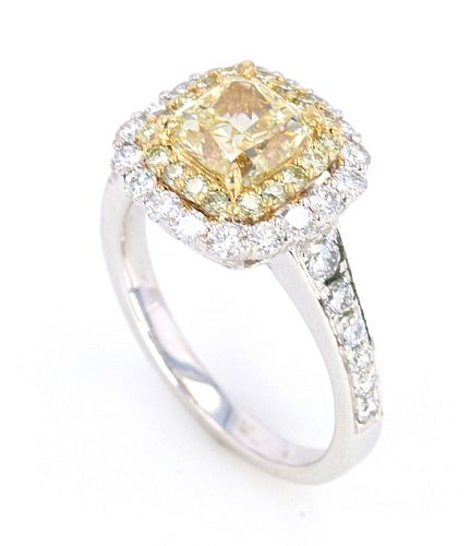 RARE VVS2 Fancy Yellow Diamond 2.02ct in 18K Ring