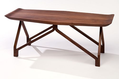 Squarepin Coffee Table with Oxbow Top