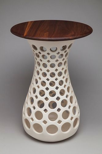 Ceramic Hourglass Table with Walnut top