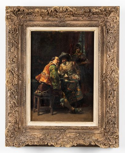 "Cesare Auguste Detti ""A Conversation"" Oil on Panel"