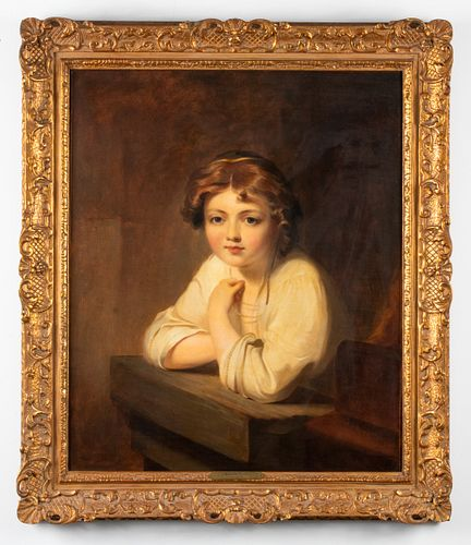 Thomas Sully Attr Portrait of a Girl Oil on Canvas