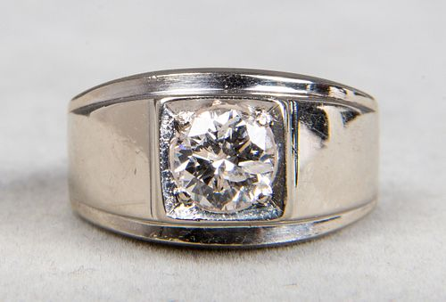 14K White Gold Gentleman's 1.50 ct Diamond Ring
