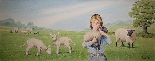 """Peter Barrett (British, B. 1935) """"Baby Sheep"""""""