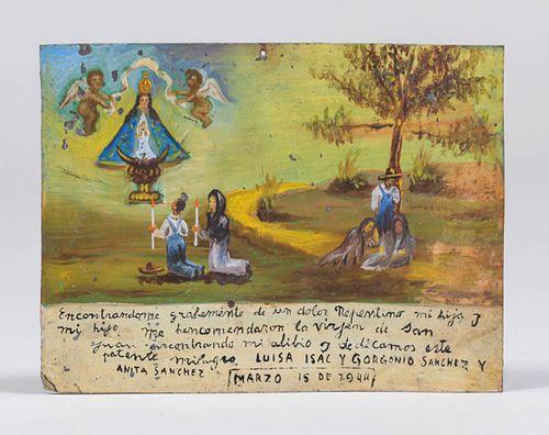 Mexican Retalbo Thanking The Virgin Mary 1944