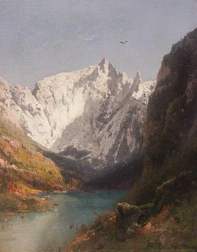 Hermann Herzog Painting Alpine Landscape c1900
