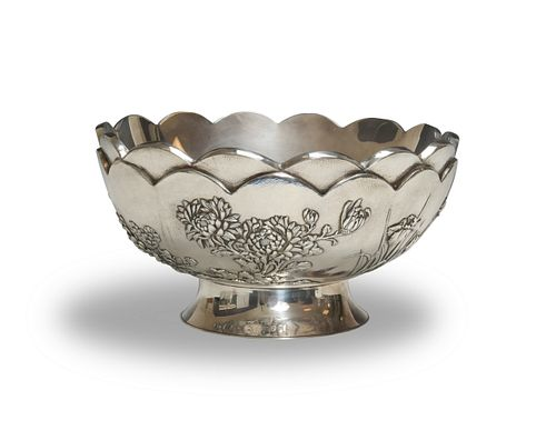 Japanese Double Wall Silver Chrysanthemums Bowl