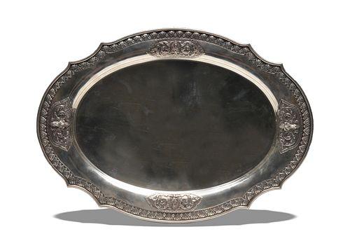 Thai Silver Presentation Platter with Case