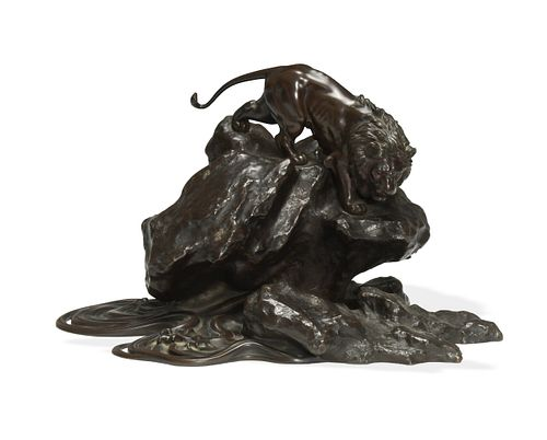 Japanese Bronze, Mixed Metal Lion on Rocks, Meiji