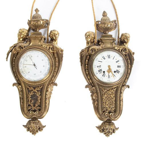 Louis XVI Bronze Cartel Clock & Barometer
