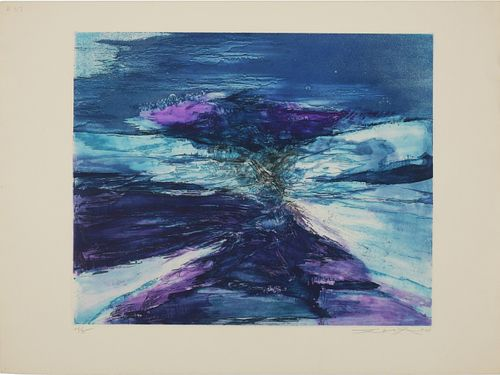 Zao Wou-Ki Composition in Blue and Violet 56/95