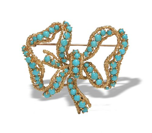 18K Gold Brooch with Persian Turquoise