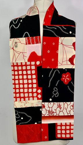 Red, Black and White Grid bScarf
