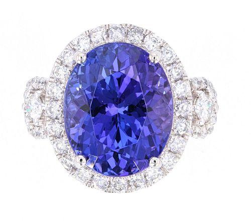 Deep Violet Blue Tanzanite AAA 9.53 ct. PT950 Ring