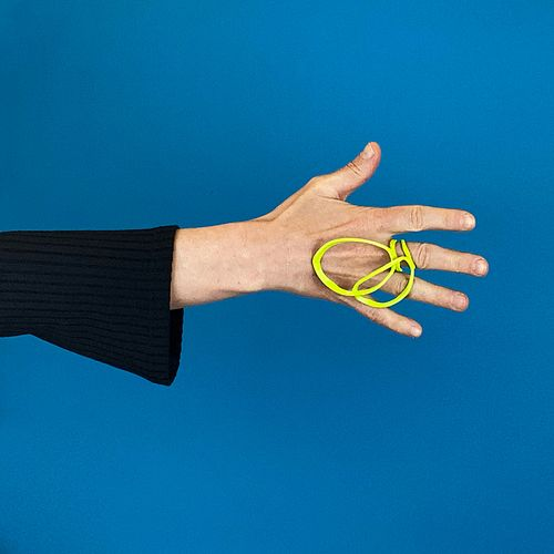 Open Weave Ring, Double Loops, Chartreuse