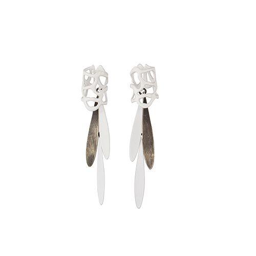 Lace Stud and Fringe, White