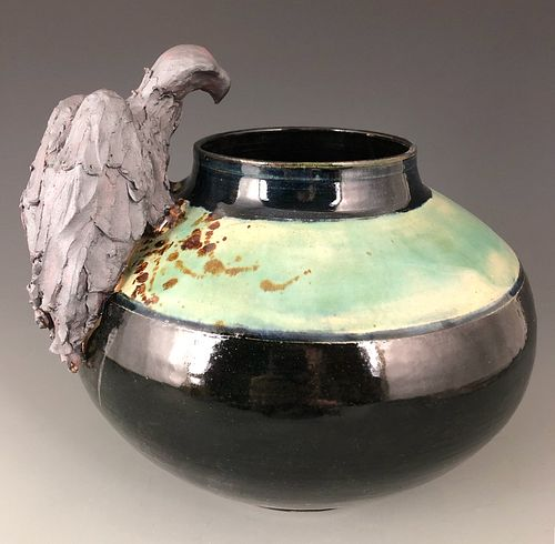 Vulture Vase in Celadon and Black
