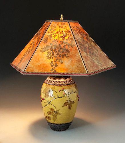 Virginia Creeper Lamp in Amber