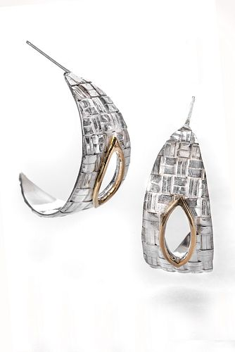 Forged Woven Silver Hoops
