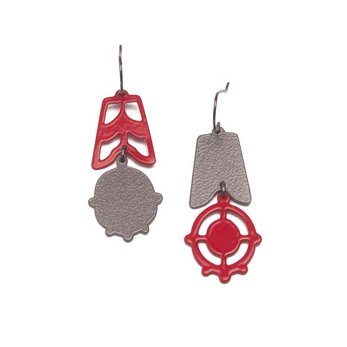2pc Asymmetrical Dangles in red and slate grey