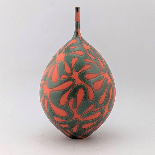 Large Orange and Green Raindrop Vase