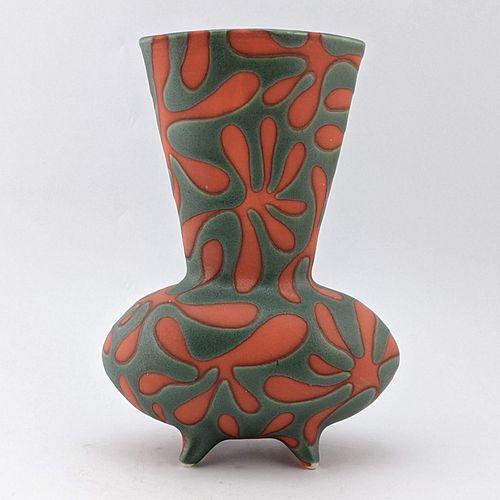 Orange Bursts on Green Broad Vase