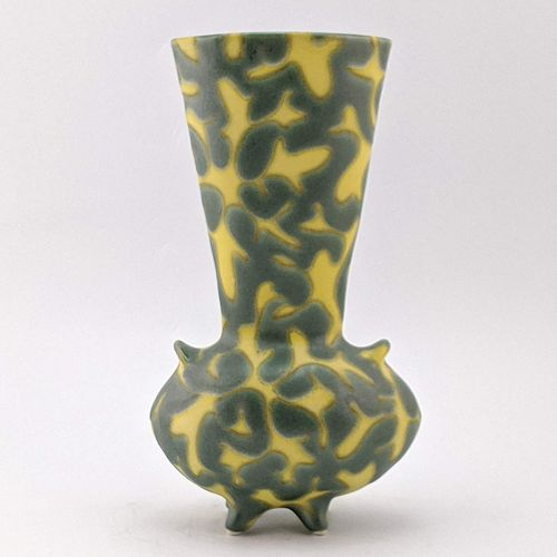 Yellow Curls on Green Broad Vase