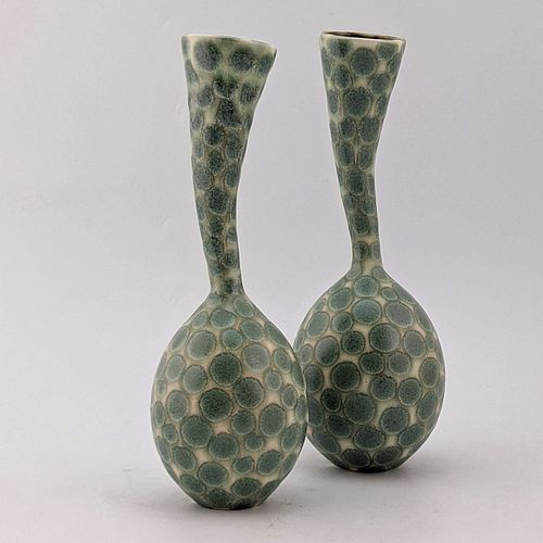 Wiggle Neck Vase Pair, Green and White