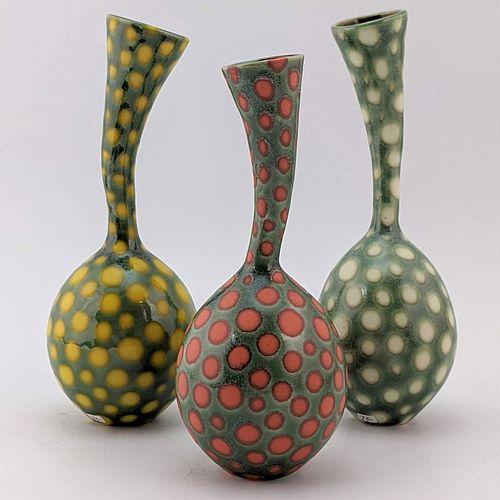 Wiggle Neck Vase Trio, Bright Spots
