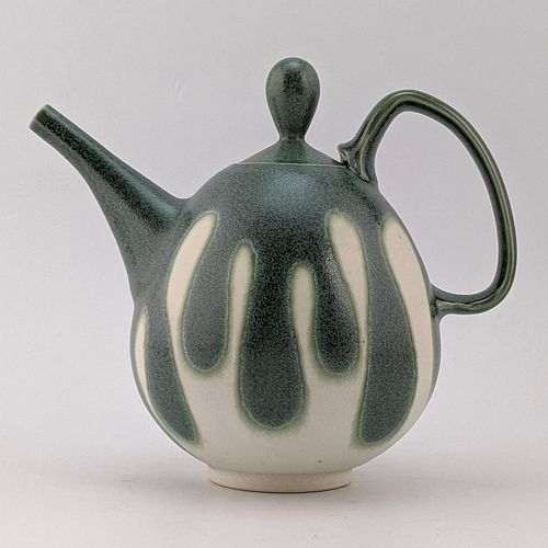Green and White Teapot
