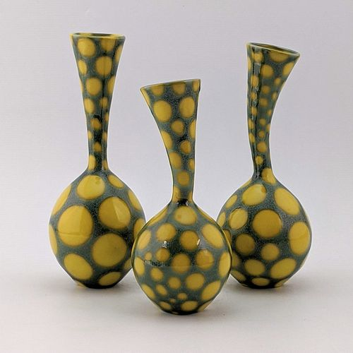 Wiggle Neck Vase Trio, Big Yellow Spots
