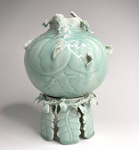 Celadon Peach Vase on Pedistol