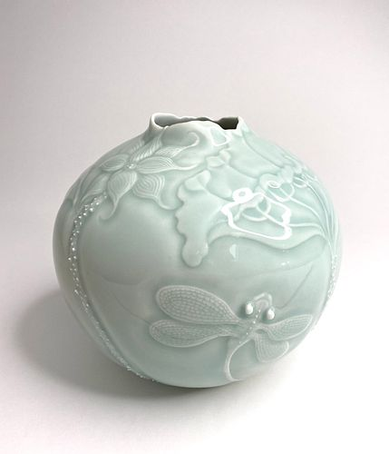 Lotus and Dragonfly Vase