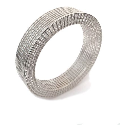 Silver Square Grid Bangle