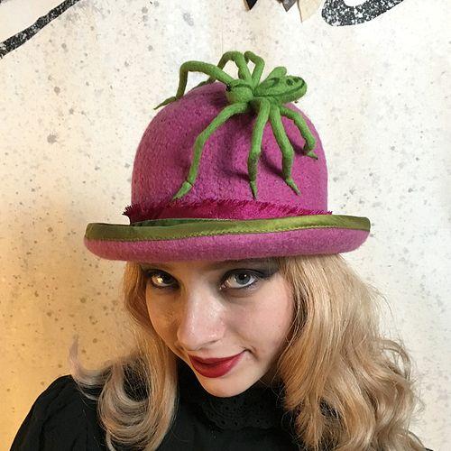 Pink Bowler Hat w/Crab Spider