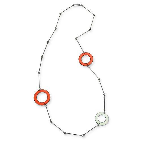 Open Circle Necklace - Flame Orange, Lichen Green