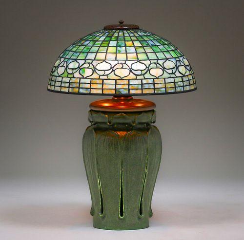 Grueby Pottery - Tiffany Studios Leaded Glass Lamp
